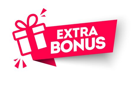 Vector illustration of Red Extra Bonus Label. Modern Web Banner Element With Gift.