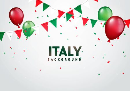 Vector Illustration Colorful Flags, Balloos And Confetti Of Italy. Festive Celebration Party Background.