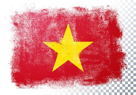 Vector illustration of vintage grunge texture flag of vietnam