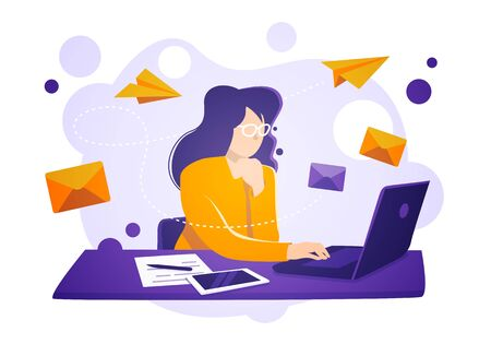 Vector illustration business women sit on laptop, check and send emails. Email service concept. 向量圖像