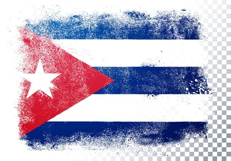Vector illustration of isolated flag of cuba in grunge texture style. 向量圖像