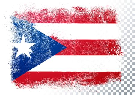 Vector illustration isolated flag of puerto rico in grunge texture style. Vectores