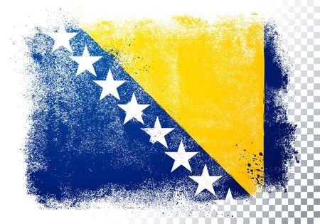 Vector illustration isolated flag of bosnia herzegovina in grunge texture style.
