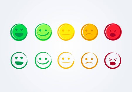 Vector Illustration Set Of Handdrawn Emoticons, User Experience Feedback Concept. Different Mood Icons, Positive, Neutral And Negative 向量圖像