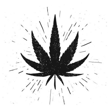 Vector illustration hand drawn marijuana leaf. Grunge Style Cannabis Icon For Logo Design Illusztráció