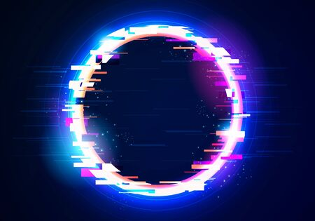 Vector illustration glitch circle frame. Abstract tv distorted signal chaos, glitched ring with distortion light effect.