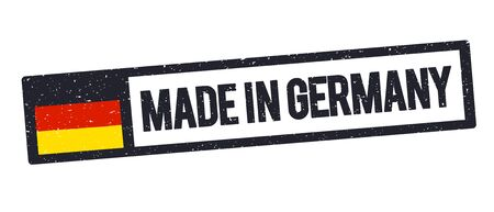 Vector illustration Made in the Germany rubber stamp icon, with german flag, isolated on white background.