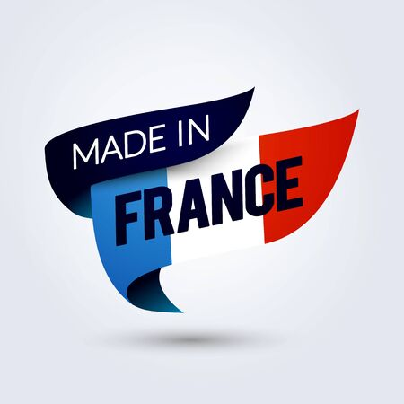 Vector Illustration Made in France Flag, colored ribbon with the French tricolor 版權商用圖片 - 141255602