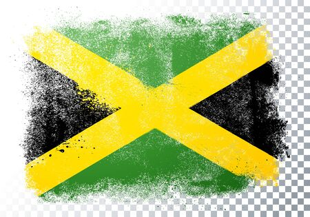 Vector Illustration Scratched Jamaica Flag With Grunge Texture