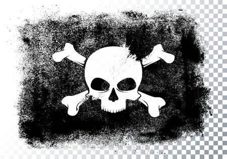 Vector illustration isolated black pirate flag with skull and bones in grunge style.