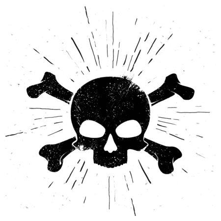 Vector illustration black hand drawn skull and crossbones in vintage style Illusztráció