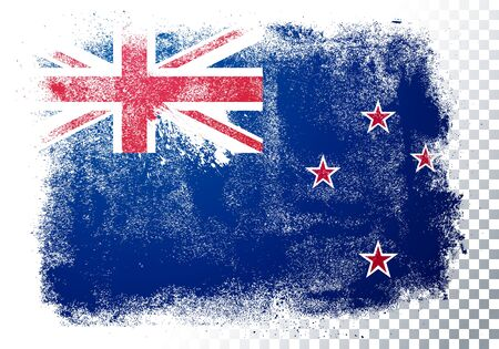 Vector Illustration Isolated Distressed New Zealand Flag. Grunge texture style background.