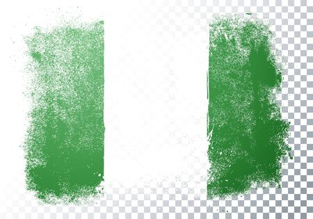 Vector Illustration Isolated Distressed Nigeria Flag. Grunge texture style background.