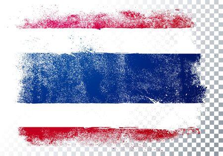 Vector Illustration Isolated Distressed Thailand Flag. Grunge texture style background. Illusztráció