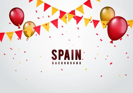 Vector illustration spain garland flag with confetti and balloons for spanish celebration template banner. Векторная Иллюстрация