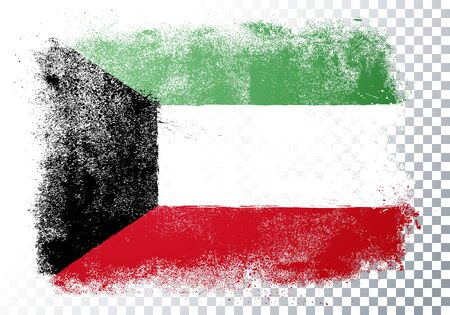 Vector illustration of vintage grunge texture flag of kuwait