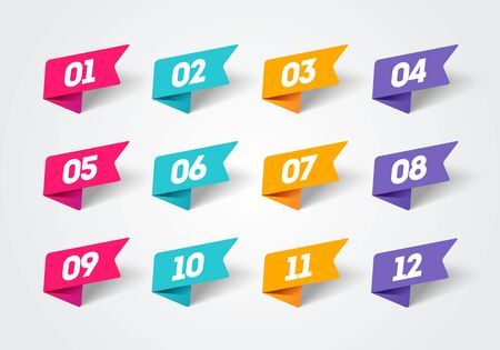 Vector illustration set of modern flag style bullet points. Retro color numbers 1 to 12. Illustration