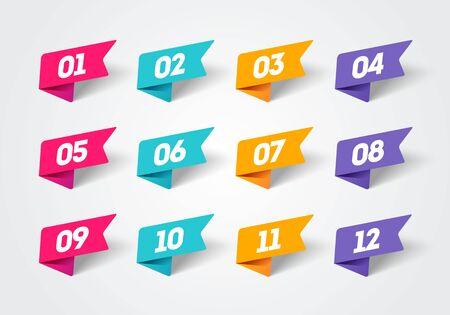 Vector illustration set of modern flag style bullet points. Retro color numbers 1 to 12. Illusztráció
