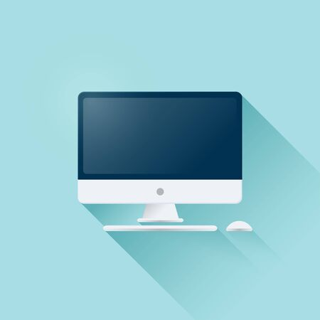 Vector Illustration Personal Computer Display With Mouse And Keyboard In Flat Style. Desktop Computer Icon Isolated On Background 版權商用圖片 - 141255905