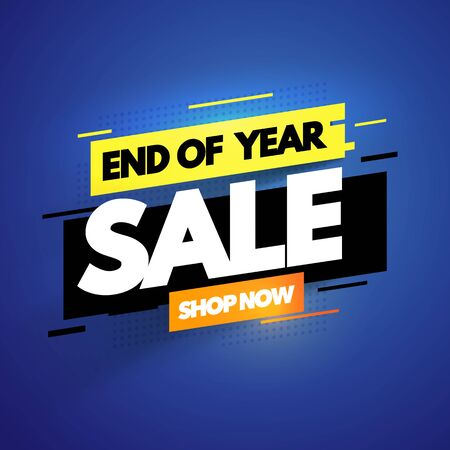 Vector illustration modern end of year sale banner. Promotion label with glitch effect.