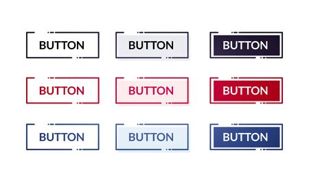 Vector Illustation Set Of Different Modern Flat Buttons. Web Element With Outline 版權商用圖片 - 141255908