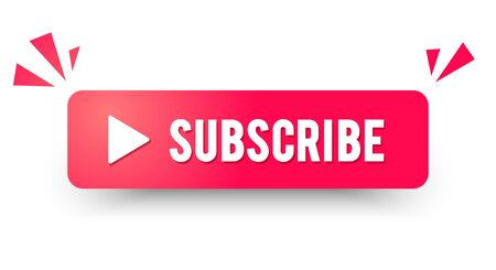 Vector illustration red subscribe channel button. modern website icon element.