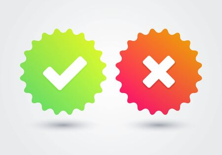 Vector illustation tick and cross medal signs. Green checkmark and red X seal icons.
