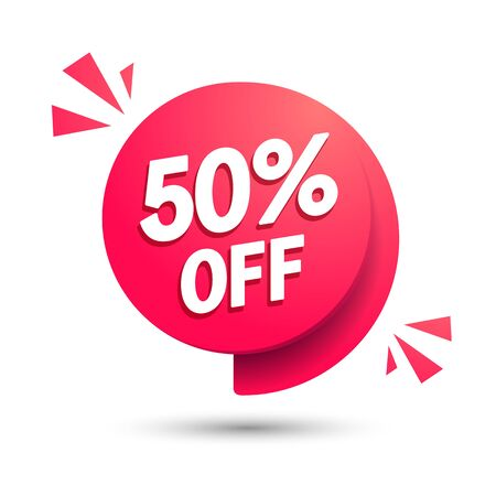 Vector illustration sale speech bubble. Discount with 50 percent off. Modern offer icon. 版權商用圖片 - 141255914
