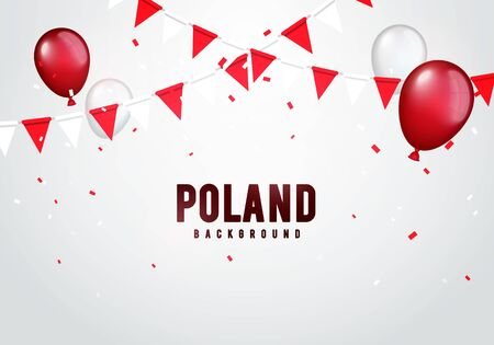 Vector illustration poland celebration background with banner, confetti and balloons in polish colors