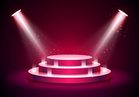 Vector illustration red round podium on bright background. Empty pedestal for award ceremony. Platform illuminated by spotlights.