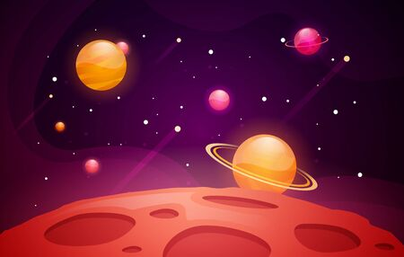 Vector Illustration Space Background With Red Planet Landscape. Stars and Comets Decoration For Your Design. Illustration