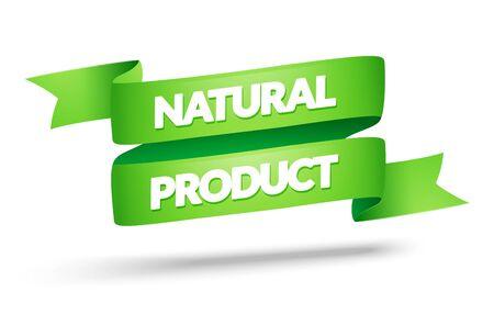 Vector illustration natural product label. Green color vintage banner design.