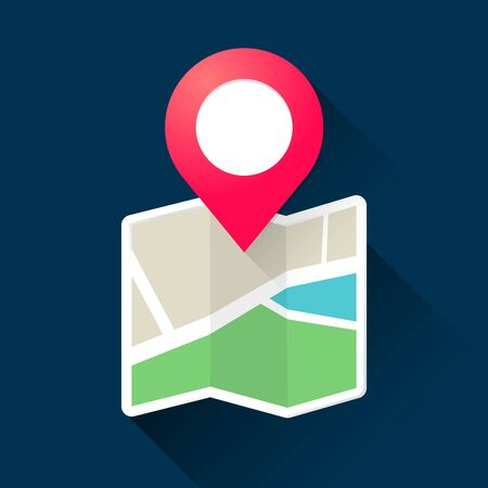 Vector illustration modern roadmap with pin pointer. Location GPS navigation systems. Map icon. Illustration