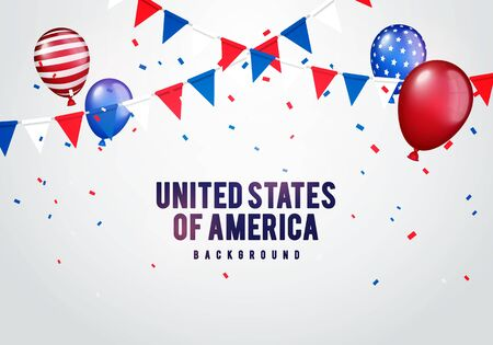 Vector illustration united states of america party background. Celebration with balloons, confetti and garlands in american colors.