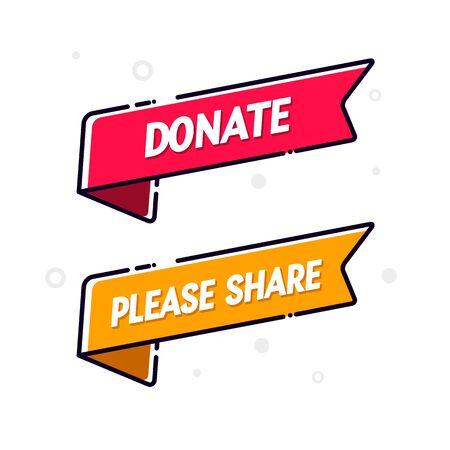 Vector Illustration Donate And Share Flag Icon Set. Modern web banner design