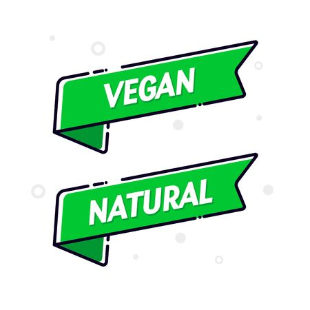 Vector illustration vegan food flag set. Modern natural banner concept.