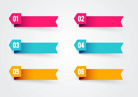 Vector illustration bullet point flags. Banner in retro color with number 1 to 6 Иллюстрация