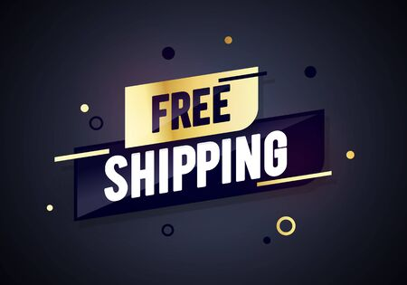 Vector illustration premium free shipping label. Golden luxury dynamic sales banner.