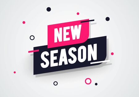 Vector illustration new season label. Modern dynamic sales banner. 版權商用圖片 - 141256182