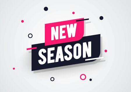 Vector illustration new season label. Modern dynamic sales banner.