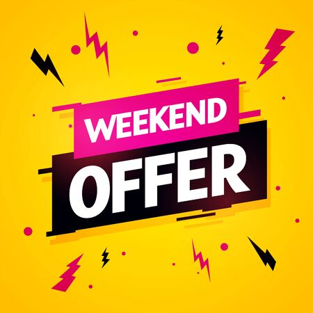 Vector illustration weekend offer label. Modern dynamic sales banner.