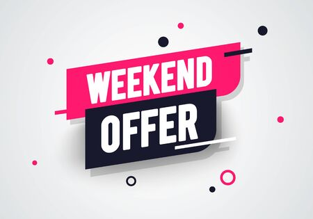 Vector illustration weekend offer label. Modern dynamic sales banner. 版權商用圖片 - 141256183