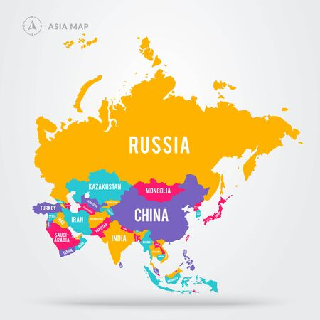 Vector illustration colorful map focus on asian countries. Asia states with name labels. 版權商用圖片 - 141256184