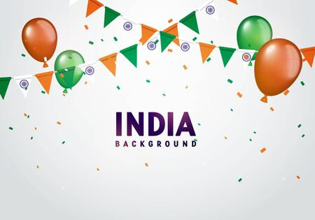 Vector illustration of india celebration background. Balloon, garlands and confetti in indian colors.