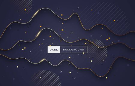 Vector illustration luxury background with dynamic waves. Abstract dark and gold template 版權商用圖片 - 141379992
