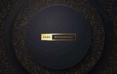 Vector illustration dark luxury premium background with sparkle effect. Black cirlce with golden elements. Иллюстрация