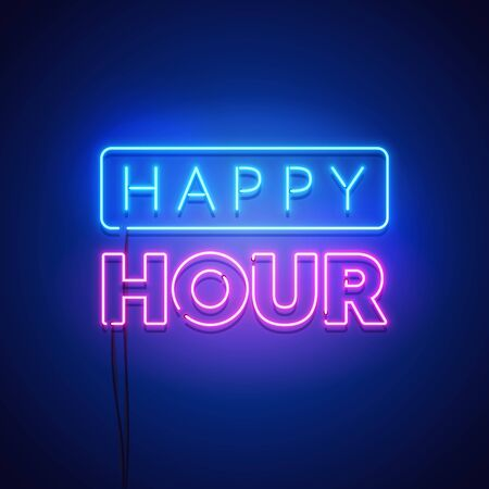 Happy, hour, neon, sign, light, glowing, glow, abstract, advertising, alcohol, alcoholic, banner, bar, beverage, blue, bright, bulb, club, cocktail, color, colorful, dark, design, drink, electric, entertainment, evening, festival, illuminated, illustration, lamp, life, night, nightlife, party, price, promotion, pub, retro, sell, shine, shiny, show, signage, signboard, symbol, typography, urban, vector, wall Иллюстрация