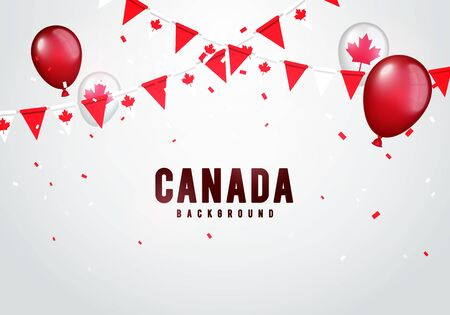 Vector illustration of Canada Celebration Background. Garland, Balloons And Confetti In Canadian Colors.