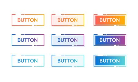 Colorful Set Of Web Button With Hover Effect And Press Effect 向量圖像