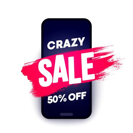 Crazy Sale Offer. Brush stroke on smartphone. 50 percent off. Иллюстрация